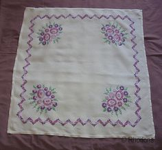 Vintage Hand Embroidered Tablecloth Stylised Flowers by Rhodons