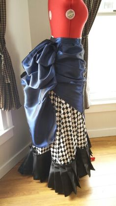 Navy blue satin taffeta apron front bustle overskirt.  Truly victorian pattern