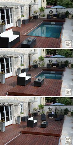 Une terrasse mobile de piscine Rolling-Deck vient protéger et sécuriser une Pi