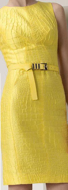 Versace - Yellow python jacquard dress