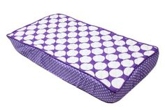 Bacati - MixNMatch Large Dots Quilted Top Cotton Percale with Polyester Batting Diaper Changing Pad Cover, Purple