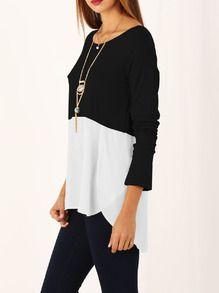 Weiß Schwarz Langarm-High Low-T-Shirt