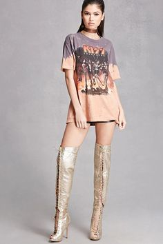 A pair of crinkled faux leather thigh-high boots featuring a metallic design, a lace-up front, a back zipper, open toe, and stiletto heel. This is an independent brand and not a Forever 21 branded item.