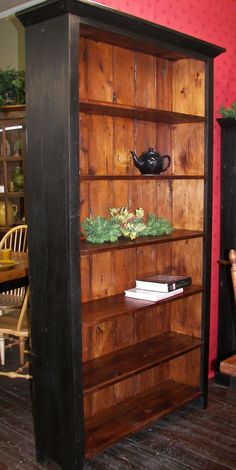 Two-tone black and Tudor bookcase/shelf unit - We use wood from dismantled barns and log homes dating from the 1800's to early 1900's to create rustic, one-of-a-kind, reclaimed barn wood furniture, in the heart of Amish Country, Lancaster, PA. Custom orders are our specialty. Visit our showroom located in Intercourse, PA. www.braunfarmtables.com