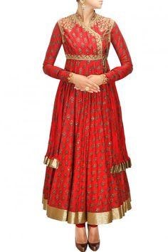 Red block printed angrakha style anarkali set by Rohit Bal.