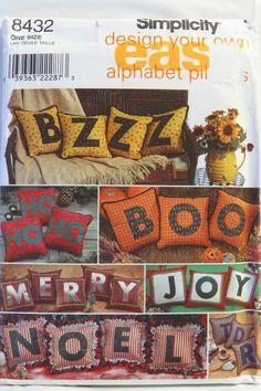 """Simplicity 8432 12"""" and 14"""" Alphabet Pillows"""