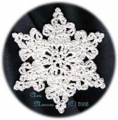 Crochet Lace Snowflake pattern by Cheri Mancini - free Crochet Snowflake Pattern, Christmas Crochet Patterns, Crochet Stars, Crochet Snowflakes, Holiday Crochet, Thread Crochet, Crochet Doilies, Crochet Flowers, Crochet Lace