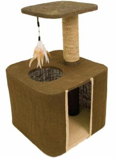 ★WARE BURLAP CONDO-N-PERCH★CAT SCRATCH POST BED FORT HOUSE SCRATCHING TOY COZY