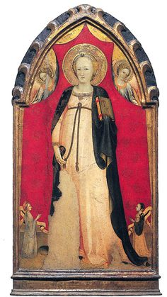 Rossello di Jacopo Franchi - Madonna del parto con due angeli e due donatori - 1410-1420 Firenze, Museo della Casa Fiorentina Antica