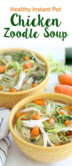 NEW Instant Pot recipe! Check out this smart spin on classic chicken noodle soup… It's made with zucchini noodles! About 1 c. = 103 calories | 2g fat | 14.5g protein