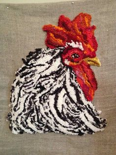 Chicken - This is a gorgeous rooster! Rug Hooking Designs, Rug Hooking Patterns, Hook Punch, Punch Needle Patterns, Latch Hook Rugs, Rug Inspiration, Hand Hooked Rugs, Braided Rugs, Penny Rugs