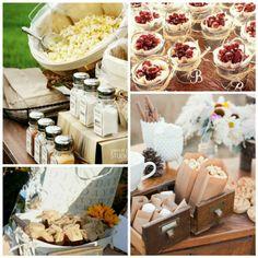 Rustic wedding dessert station #dessert #weddingdessert #rusticwedding #outdoorwedding #weddingideas
