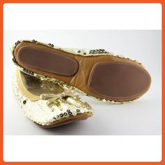 Fit In Clouds Foldable Flats, Gold Sequin - Large - Flats for women (*Amazon Partner-Link)