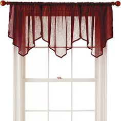 TO REPLACE VALANCES IN UPSTAIRS BEDROOM, TO MATCH BEDDING:   $10 each  (2 or more)  Palmetto Red    Royal Velvet® Crushed Voile Ascot Valance - jcpenney
