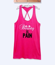 Beauty is pain fitness workout tank top with print -067