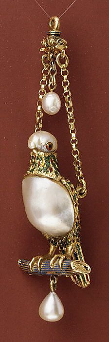 Pendant in the form of a parrot, late 16th-17th century, Spanish.