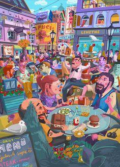Terace BP soft colors Wall Tapestry by vidak Comic Artist, Soft Colors, Wall Colors, Wall Tapestry, Framed Art Prints, Art For Kids, Illustration, Artwork, Poster