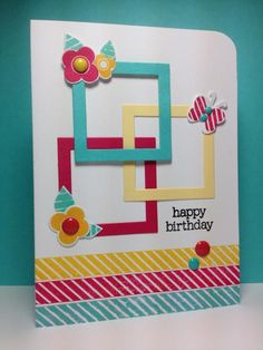 "Use the ""Be Happy"" die set to create this frametastic handmade birthday card. The diagonal lines at the bottom have been stamped, but you could easily use paper, fabric or ribbon strips instead. The cute flowers and butterfly have been punched and stamped in the same colors as the frames."