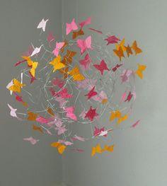 Mobile Nursery Butterfly Mobile Nursery Art. $64,00, via Etsy.