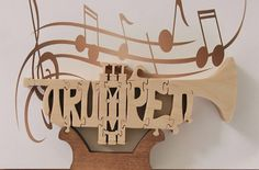 Trumpet Puzzle Cut On Scroll Saw by DukesScrollSaw on Etsy
