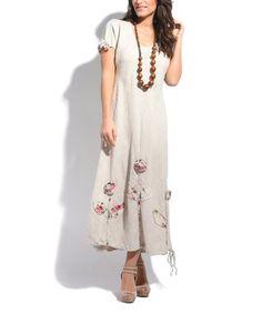 Beige Linen Floral Shift Dress