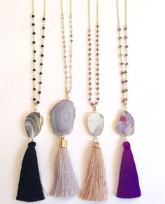 SALE 20% OFF Agate tassel necklace Long von elsajaeboutique auf Etsy