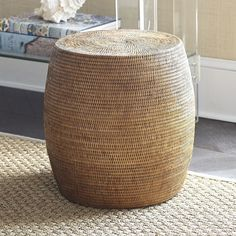 Find comfort in stylish seating with our Rattan Drum Stool. Condo Living Room, Beach Living Room, Living Room Update, Living Room Decor, Living Rooms, Used Chairs, Leather Dining Room Chairs, Vintage Farmhouse Decor, Entry Way Design