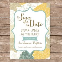 Printable Save The Date Card / Gold and teal floral / by paperhive
