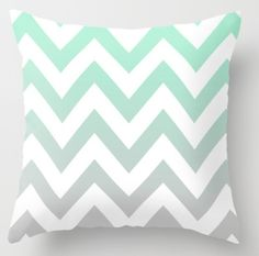 Mint Grey Chevron Fade Throw Pillow, in loooove Mint Green Rooms, Mint Green Decor, Mint Rooms, Mint Green Bedding, Bedroom Green, White Bedroom, Bedroom Decor, Bedroom Ideas, Paisley Bedroom