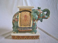 Hollywood Regency Elephant Garden Stool. I WANT THIS!!! :P