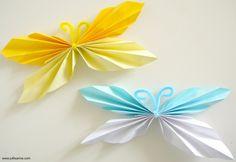 Thema lente: vlinders vouwen. Uitleg staat op www.juflisanne.com // Spring theme: diy how to fold a butterfly