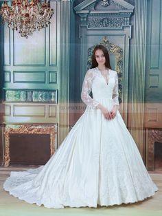 Three Quarters Sleeved V Neck Lace over Satin Wedding Dress