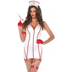 Heart Stopping Nurse Sexy Womens Costume Our Price $39.00  This 4 piece Heart Stopping Nurse costume set includes the zipper front garter mini dress in either black or white with red trim and heart beat monitor back detail. It comes with the arm band leg garter and hat headband.  Small size is about 34 inches long from the shoulder - model is wearing a small.  Other items shown sold separately.  #cosplay #costumes #halloween