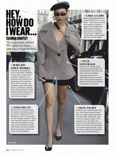 Cycling Shorts, Bella Hadid, Sporty, Blazer, Elegant, Lady, Blouse, How To Wear, Jackets