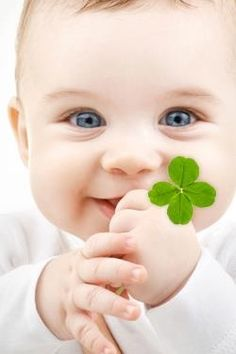 Such a innocent cute smile...with lucky four leave clover #St Patricks Day