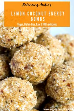 Vegan Lemon Coconut Energy Bombs - perfect as a snack on the go! Grain-free, Dairy-free, Refined Sugar-free aka the perfect energy ball! Sugar Free Snacks, Gluten Free Snacks, Healthy Protein Snacks, Healthy Sweets, High Protein, Healthy Breakfasts, Protein Bars, Snacks Sains, Dairy Free