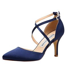 d0de3e0a7aa9e ElegantPark HC1901 Women Pointed Toe High Heel Pumps Straps Satin Wedding  Bridal Evening Party Dress Shoes Navy Blue US 10