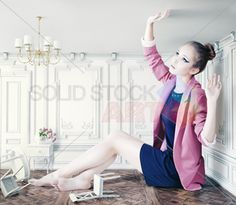 stock photo of beatifuful young girl in little room crative concept