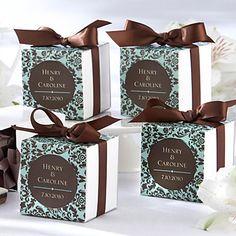 Chocolate & Turquoise Damask Favor Box (Set of 12) – USD $ 4.99