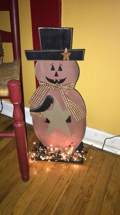 Primitive Halloween lighted pumpkin https://m.facebook.com/pages/The-Cozy-Country-Craft-House/575638289196544