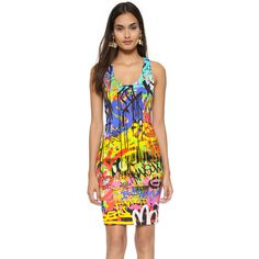 Moschino Graffiti Dress (2.620 RON) ❤ liked on Polyvore featuring dresses, multi, scoop neck dress, colorful dresses, slim fit dress, bright colored dresses and scoop neck sheath dress