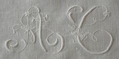 Ems Heart Antique Linens -Monogrammed Antique Italian Linen Show Towel