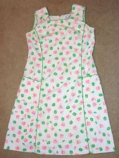 Vtg 60s Signed Vested Gentress Sea Crabs Shells Novelty Green Pink Sheath Dress