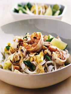 I woke up from a dream this morning where my sister-in-law and I were at Buddha Bob's in Rock Springs, WY eating Shrimp Phad Thai. Now I feel the need to learn to make this delicious dish since I can't find good Phad Thai around here. Wish me luck! Thai Recipes, Asian Recipes, Healthy Recipes, Yummy Recipes, Asian Foods, Noodle Recipes, Shrimp Recipes, Healthy Meals, Kitchens