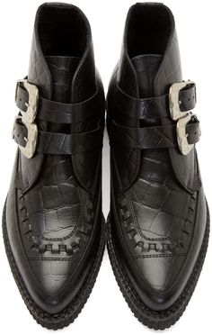 Underground Black Croc-Embossed Bowie Creeper Boots