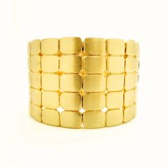 Matted Gold Rounded Rectangles Bracelet