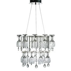 Now with 20% off Bring the party to any modern dining room or kitchen with the Vino Chrome 2 Tier LED Ceiling Light, with tear drop crystal and wine glass decoration. The sleek chrome finish frame holds sixteen wine glasses across two tiers which are positioned in a circular pattern under the latest energy saving LED lights. Size : Height 18 cm Diameter 35cm