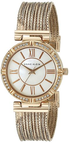 Anne Klein Women's AK/2144MPRG Swarovski Crystal Accented Rose Gold-Tone Chain Bracelet Watch -- For more information, visit image link.