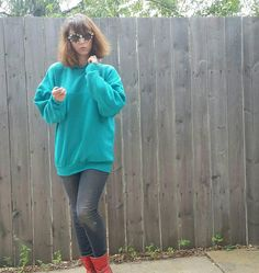 b008c4908c Vintage 1980s Retrofuturistic Cyberpunk Ribbed Teal Green Collared  Sweatshirt