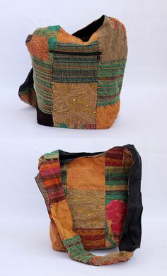 Fabulously crafted patch work Jhola - shoulder fabric bag
